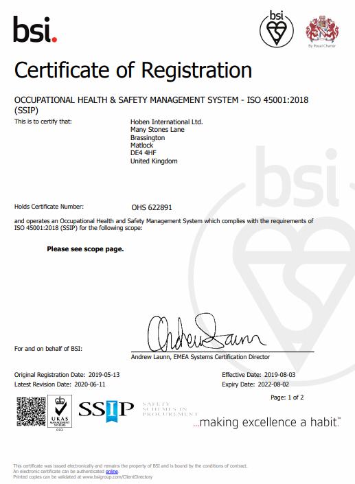 OHS Cert Certificate