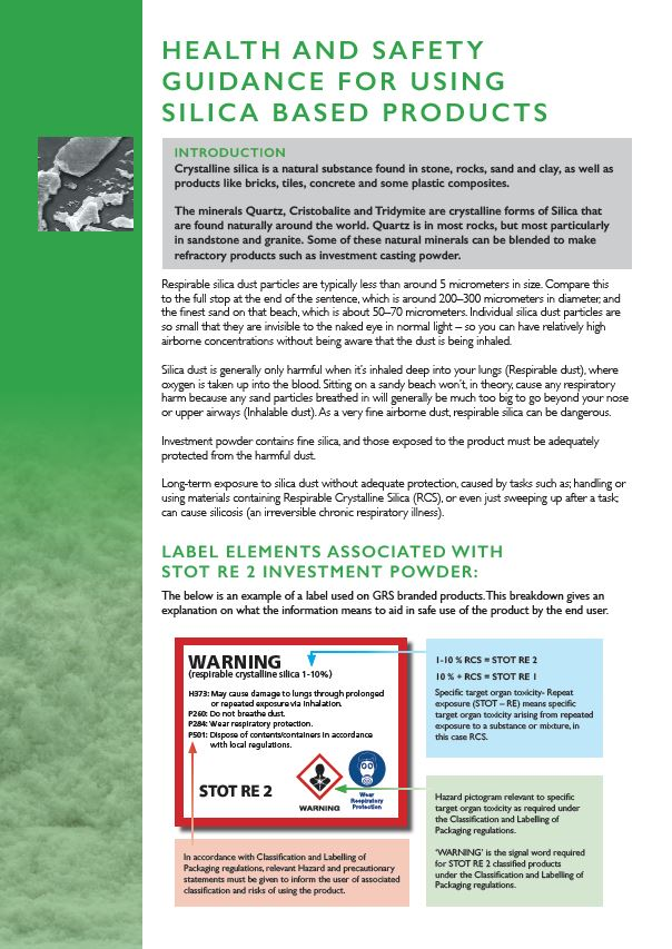 Silica Guidance Heath and Saftey Guidance for using Silica Based Products